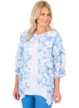 Printed Layered Dip Hem Tunic
