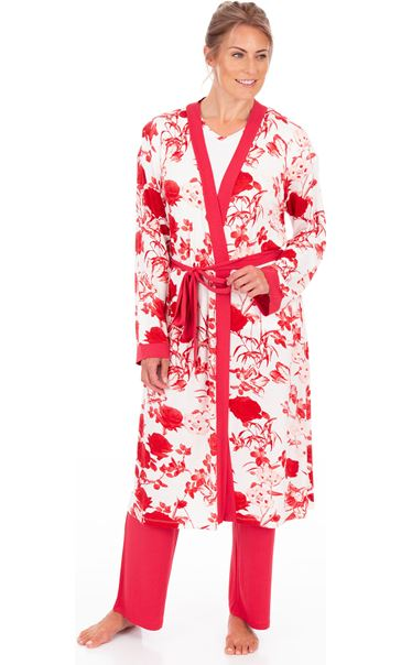 Printed Dressing Gown White/Red