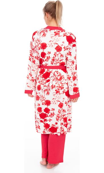 Printed Dressing Gown White/Red - Gallery Image 2