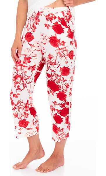 Printed Cropped Pyjama Bottoms White/Red