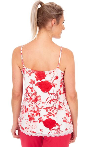Printed Cami Pyjama Top White/Red - Gallery Image 2