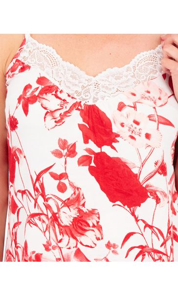 Printed Cami Pyjama Top White/Red - Gallery Image 3