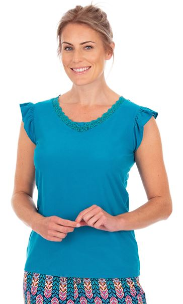 Lace Trim Pyjama Top Teal
