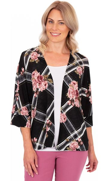 Floral Print Lightweight Knit Cover Up Black/Pink