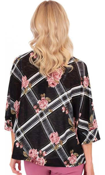 Floral Print Lightweight Knit Cover Up Black/Pink - Gallery Image 2