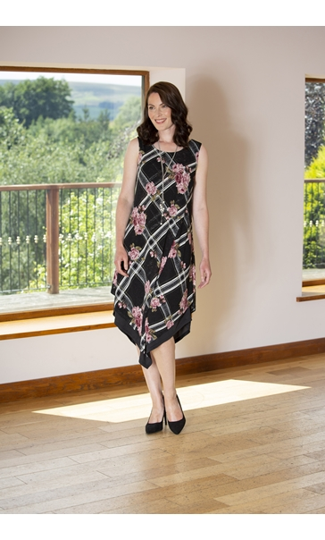 Printed Knitted Layered Sleeveless Midi Dress Black/Pink - Gallery Image 1