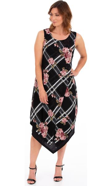 Printed Knitted Layered Sleeveless Midi Dress Black/Pink - Gallery Image 2