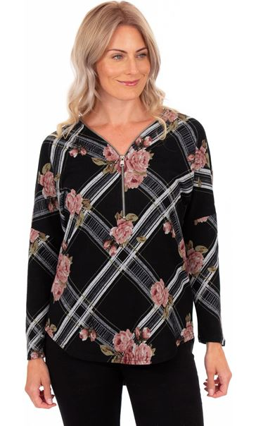 Floral Print Zip Front Knitted Tunic Black/Pink