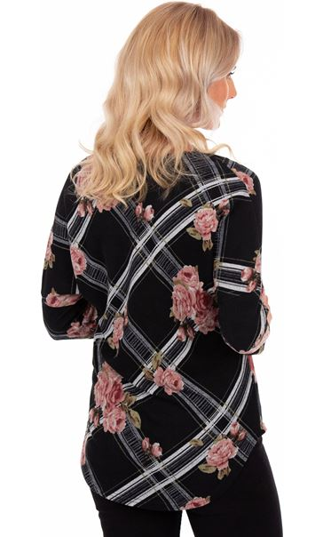 Floral Print Zip Front Knitted Tunic Black/Pink - Gallery Image 2