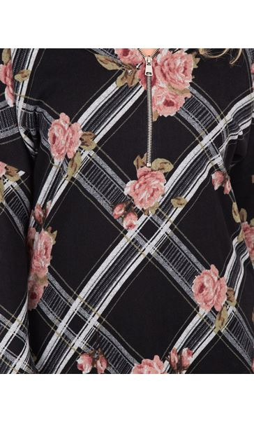 Floral Print Zip Front Knitted Tunic Black/Pink - Gallery Image 3