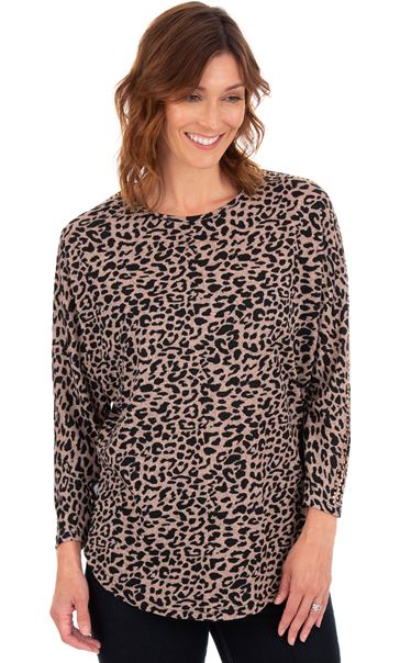 Batwing Animal Printed Top Dusky Pink/Black