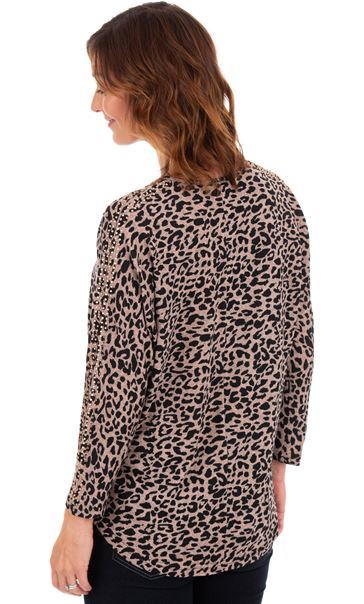 Batwing Animal Printed Top Dusky Pink/Black - Gallery Image 2