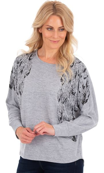 Printed Lightweight Knit Batwing Top