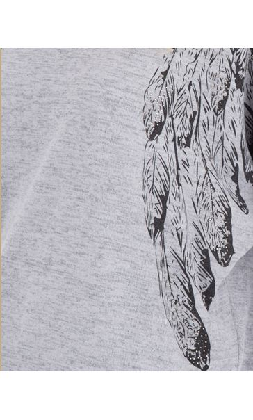 Printed Lightweight Knit Batwing Top Grey Marl - Gallery Image 3