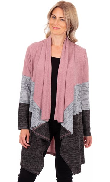 Colour Block Lightweight Knitted Cardigan Grey/Dusky Pink