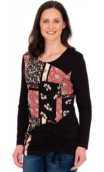 Long Sleeve Panelled Jersey Tunic Black/Pink