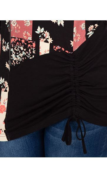 Long Sleeve Panelled Jersey Tunic Black/Pink - Gallery Image 3