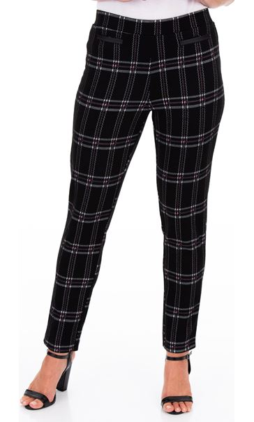 Checked Stretch Trousers - Black