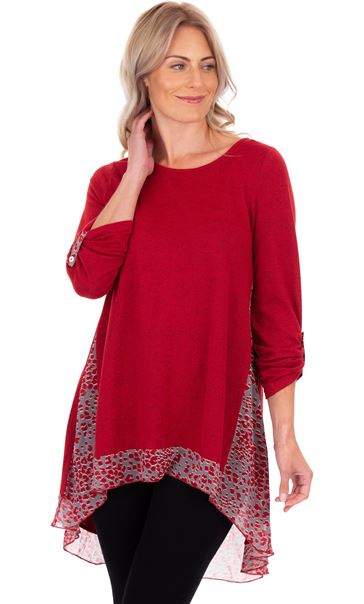 Oversized Panelled Long Top Dark Red