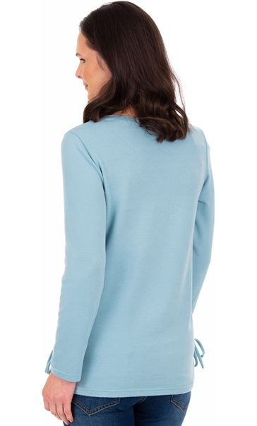 Embellished Long Sleeve Knit Top Duck Egg Marl - Gallery Image 2