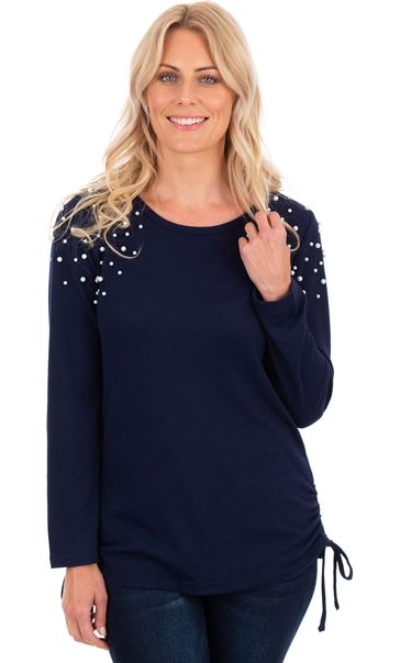 Embellished Long Sleeve Knit Top Navy