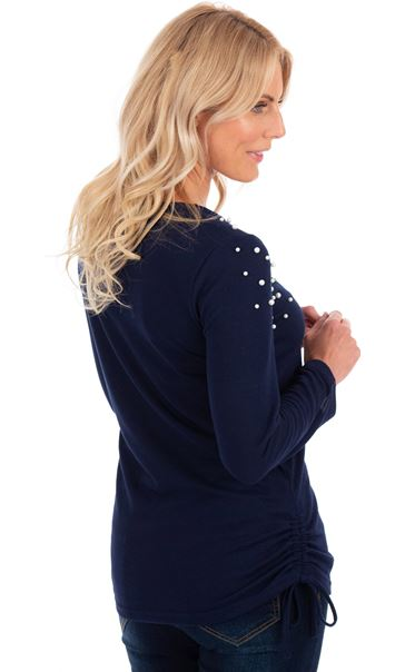 Embellished Long Sleeve Knit Top Navy - Gallery Image 2