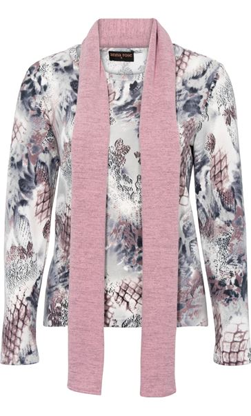Anna Rose Printed Brushed Knit Top With Scarf Multi