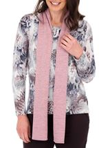 Anna Rose Printed Brushed Knit Top With Scarf Multi - Gallery Image 2