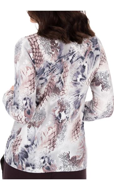 Anna Rose Printed Brushed Knit Top With Scarf Multi - Gallery Image 3