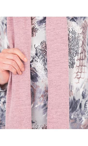 Anna Rose Printed Brushed Knit Top With Scarf Multi - Gallery Image 4
