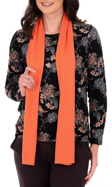 Anna Rose Printed Brushed Knit Top With Scarf Black/Orange