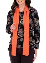 Anna Rose Printed Brushed Knit Top With Scarf Black/Orange - Gallery Image 1