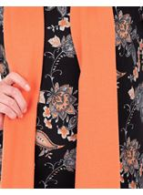 Anna Rose Printed Brushed Knit Top With Scarf Black/Orange - Gallery Image 3