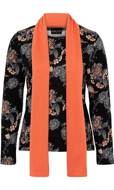 Anna Rose Printed Brushed Knit Top With Scarf Black/Orange - Gallery Image 4