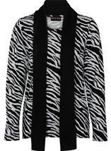 Anna Rose Animal Print Brushed Knit Top With Scarf Black/Sand - Gallery Image 1