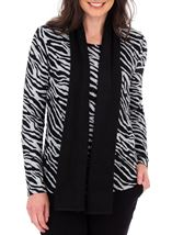 Anna Rose Animal Print Brushed Knit Top With Scarf Black/Sand - Gallery Image 2