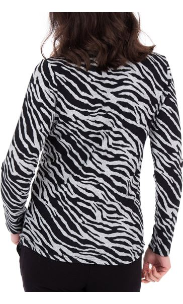 Anna Rose Animal Print Brushed Knit Top With Scarf Black/Sand - Gallery Image 3