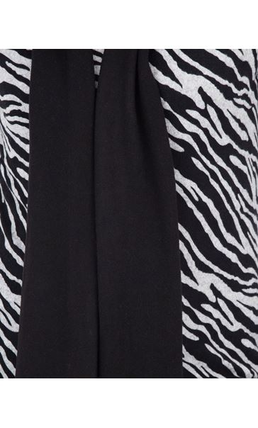 Anna Rose Animal Print Brushed Knit Top With Scarf Black/Sand - Gallery Image 4