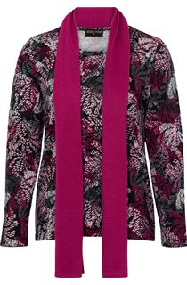 Anna Rose Printed Brushed Knit Top With Scarf - Multi