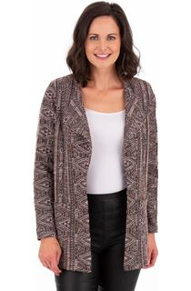 Long Sleeve Textured Open Jacket