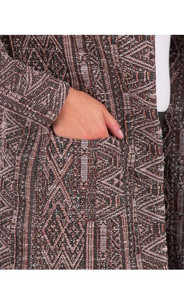 Long Sleeve Textured Open Jacket Black/Red - Gallery Image 3
