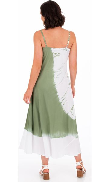 Strappy Tie Dye Maxi Dress Khaki/White - Gallery Image 2
