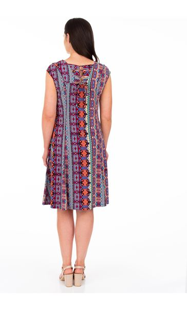 Panelled Printed Jersey Dress Blue/Pink - Gallery Image 2