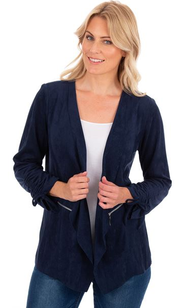 Suedette Open Front Jacket Navy - Gallery Image 1