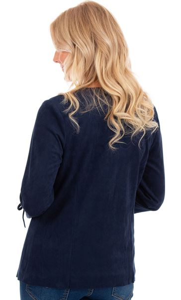Suedette Open Front Jacket Navy - Gallery Image 2