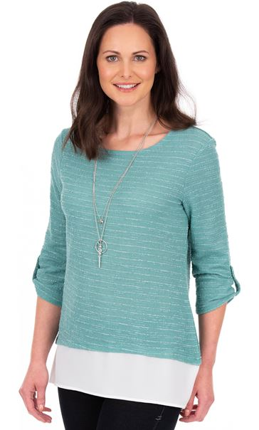 Shimmer Knitted Loose Top With Necklace Duck Egg