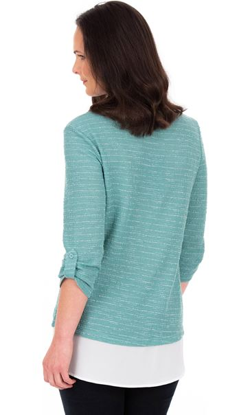 Shimmer Knit And Chiffon Top With Necklace