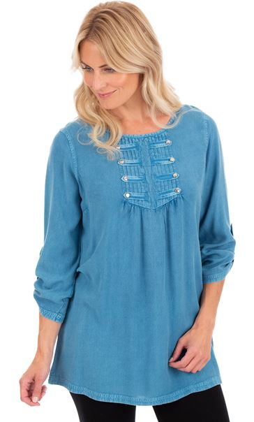 Washed Three Quarter Sleeve Tunic Denim Blue