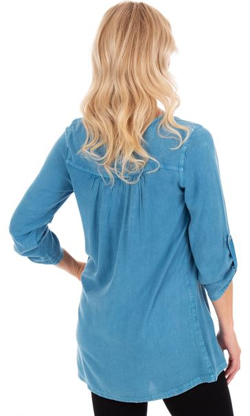 Washed Three Quarter Sleeve Tunic Denim Blue - Gallery Image 2