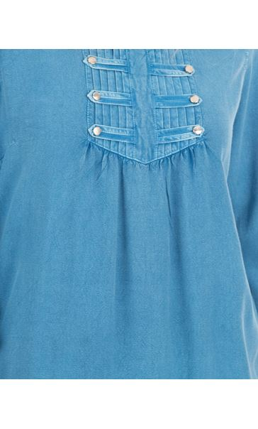 Washed Three Quarter Sleeve Tunic Denim Blue - Gallery Image 3